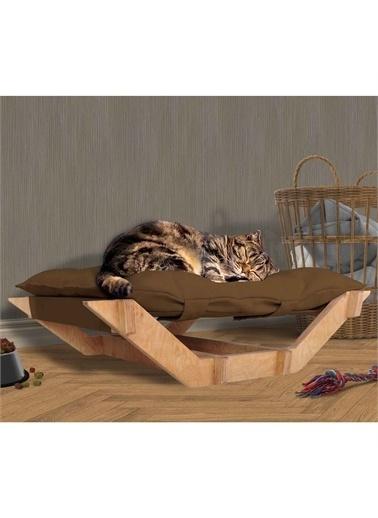 Woodesk Woodesk Dost Masif Ahşap Kahverengi Kedi ve Köpek Yatağı Renkli